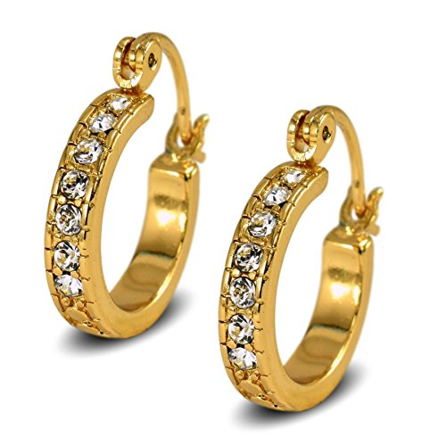 Blue Diamond Club - 18ct Gold Filled Womens Creole Hoop Earrings 20mm with White CZ Crystals