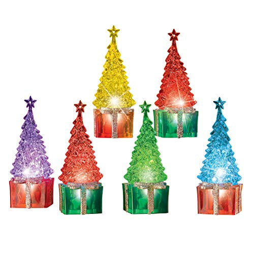 Collections Etc LED Lighted Color Changing Tabletop Christmas Trees - Set of 6