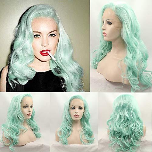 Novopus perruque: Femme Ondulé Vert Cheveux Synthétiques Ligne de Cheveux Naturelle Vert Perruque Moyen Sans bonnet Vert:Transparente