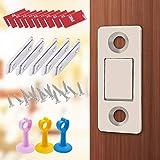 Cierrapuertas magnético sin perforaciones, imanes de puerta de gabinete, topes magnéticos invisibles ultrafinos para puerta de armario (cinco pares y 3 topes de silicona anticolisión)