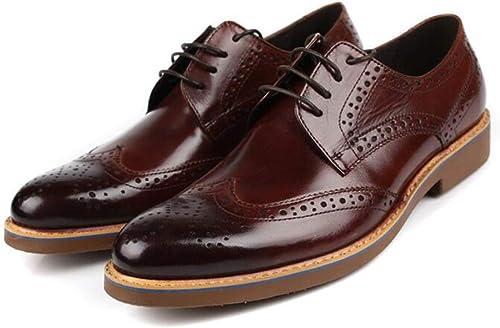 Hy Herren Herren Herren Formelle Schuhe, Leder Herbst Winter Casual Lederschuhe, Lace Up Business Schuhe, Fahren Schuhe Formal Business Work (Farbe   rotdish braun, Größe   39)  zum Verkauf 70% Rabatt