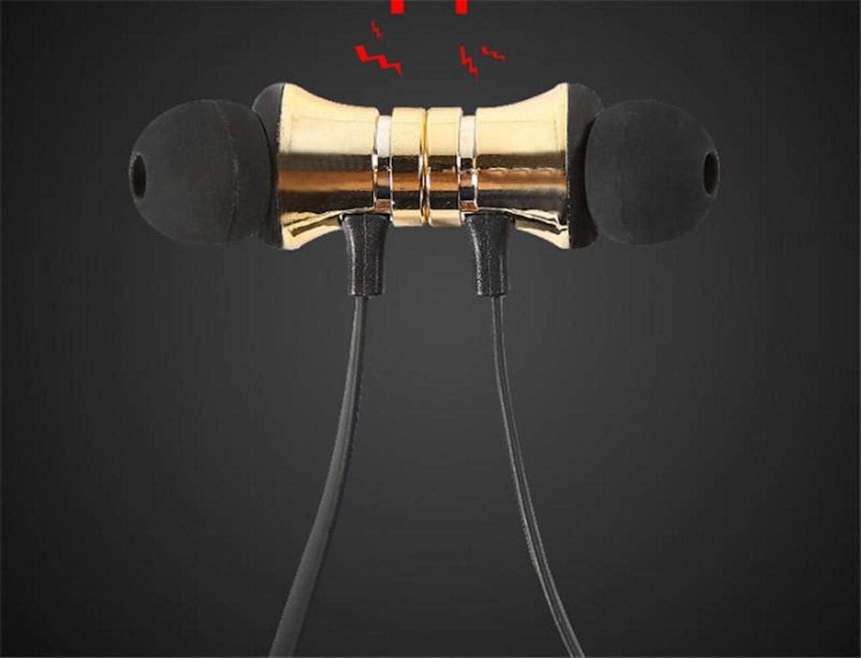 Bluetooth 4.2 Headphones Sport Magnet Stereo Earphones Headset mic Rechargeable (Gold)