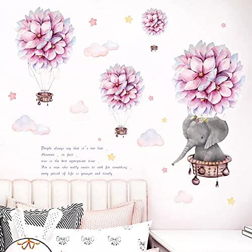 LMSDALAO Hermosa flor rosa globo de aire caliente dibujos animados elefante pared pegatinas para la habitación de los niños bebé guardería decoración