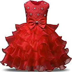 Red Kids Ruffles Lace Party Dress