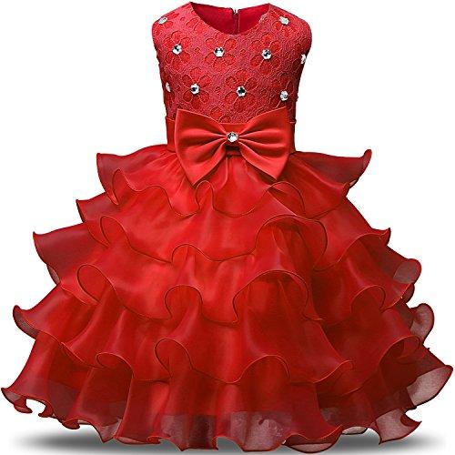NNJXD Mädchen Kleid Kinder Rüschen Spitze Party Brautkleider Größe(110) 3-4 Jahre Rot