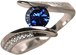winsopee Promise Rings,Fashion Trend Simple Blue Topaz Diamond Smooth Ladies Ring Jewelry for Women