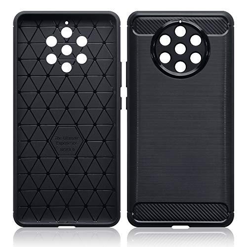 TERRAPIN, Kompatibel mit Nokia 9 PureView Hülle, TPU Schutzhülle Tasche Hülle Cover mit Karbonfaser und Ausgebürstet Dessin - Schwarz