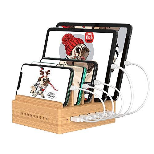 OthoKing Handy Ladestation USB Ladegerät mehrfach Ladestation für mehrere Geräte Smartphone Ladegerät für mehrere Handys USB Ladestation mehrfach aus Bambus mit 5 Kabel