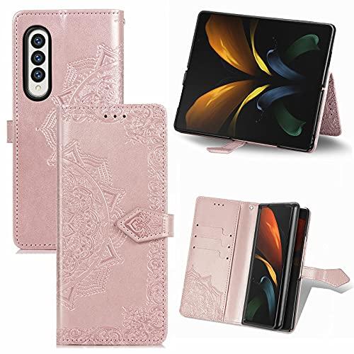 DOHUI Hülle für Samsung Galaxy Z Fold 3 5G, Premium PU Leder Flip Wallet Tasche mit Standfunktion & Magnetisch Schutzhülle Handyhüllen passt für Samsung Galaxy Z Fold 3 5G Smartphone (Roségold)
