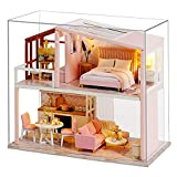 JDJFDKSFH Casa de muñecas en Miniatura con Muebles, Kit de muñecas de Madera de Bricolaje más a Prueba de Polvo, 1:24 Idea de la Sala Creativa de Escala