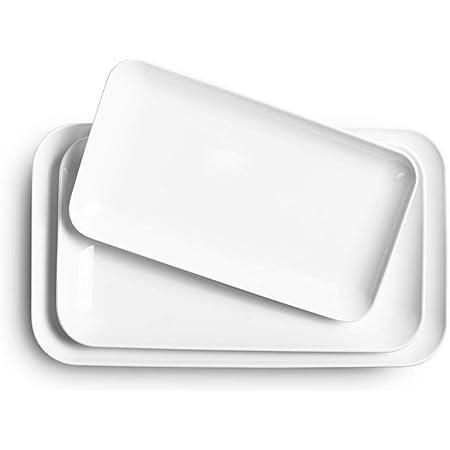 Large Serving Platter Set - DELLING 16/14/12inch White Rectangular Dessert Plate/Salad Plates - Serving Trays for Parties, Sushi, Oven Safe Dinnerware Set of 3, White