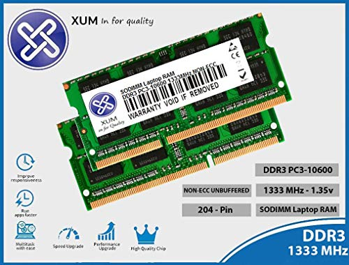 XUM 8GB (2x4GB) DDR3 PC3-10600 1333MHz 204-pin SODIMM NON-ECC Unbuffered Laptop Ram Memory Upgrade compatible with Dell For Inspiron One Optiplex Precision Workstation XPS Vostro 1.35v