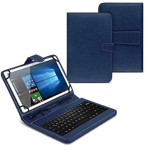 UC-Express - Custodia compatibile con Blackview Tab 8, tastiera QWERTZ, funzione leggio, USB, colore: Blu