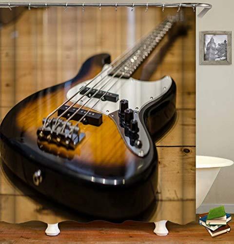 ZZZdz Decoración Musical. Guitarra. Cortina De Ducha: 180 X 180 Cm. Tapiz De Tela Impermeable para De Ducha. Juego De Cortina De Ducha De Baño Cortina De Ducha De Baño De Fibra De.