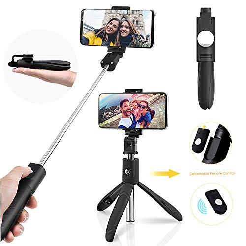 ACS1986 Selfie Stick Treppiede con Remote per Action Camera iPhone e Android da 3,5-6 Pollici Smartphone - monopiede Portatile Multifunzione 4 in 1 Selfie Stick.Nero (7.6 in)