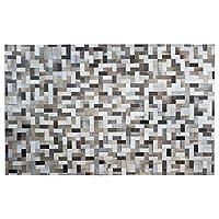 ZJX-F カウハイドラグ リビングルーム モダン シンプル グレー ハンドメイド レザーラグ リビングルーム ソファ コーヒーテーブル 長方形カーペット(サイズ:160cmx230cm)