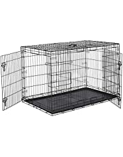 AmazonBasics Double Door Folding Metal Dog Crate Cage