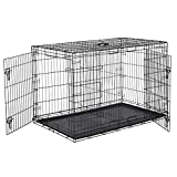 AmazonBasics Double-Door Folding Metal Dog or Pet Crate Kennel with Tray, 48 x 30 x 32.5 Inches