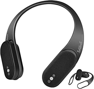 一体分離両用ネックスピーカー 首掛けスピーカー ブルートゥーススピーカー Bluetooth5.0接続 3D音響 大容量バッテリー 人間工学による設計 170g超軽重量 防水IPX4 幅広い互換性 echlife (黑)