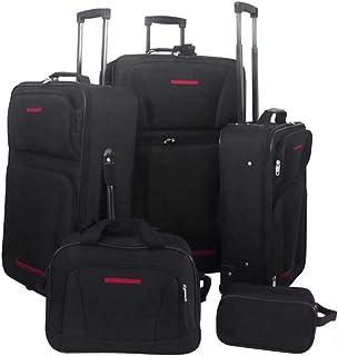 GIDOTD Travel Set 5 Pieces Black Suitcase Travel Bag with Wheels