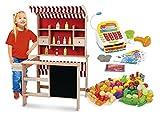 Leomark La Grande Marchande - Jeu D'Imitation - Commerçant -magasin - Stand de Vente le supermarché en bois, Mini-Bois - marché avec une tablette pour écrire à la craie et des accessoires, avec Caisse Enregistreuse, fruits et légumes