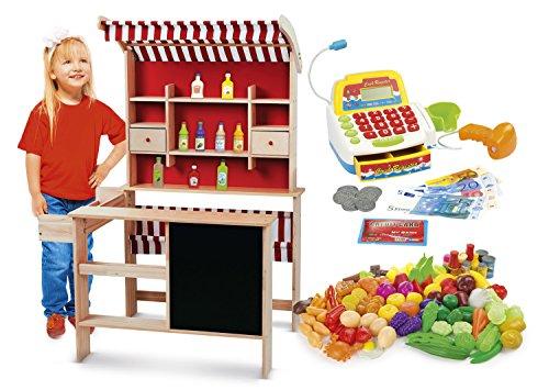 LEOMARK Kaufladen aus Holz - SUPERMARKET - inklusive Kaufladenzubehör, Verkaufsstand mit Verkaufsregal, Frontablage und Tafel und Zubehör + Essen eingestellt Gemüse und Obst 98 Elemente + Elektronische Registrierkasse für Kinder