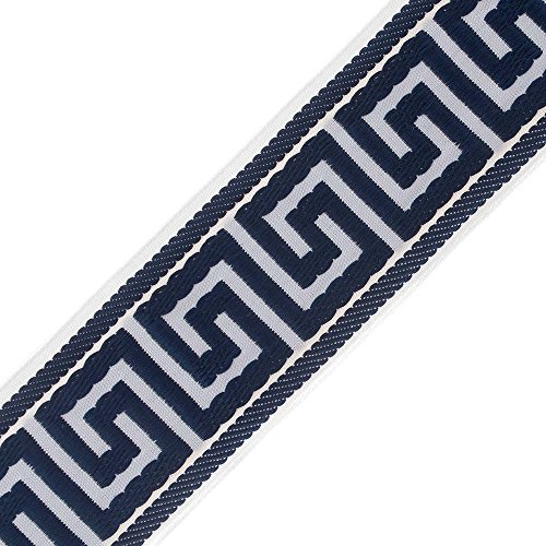 "M&J Trimming Greek Key Fabric Ribbon - 2 3/8"" (60mm) Wide Jacquard Trim for Crafts, Hobby, and Projects - Continuous Cloth Pattern Sold by The Yard - White/Navy"