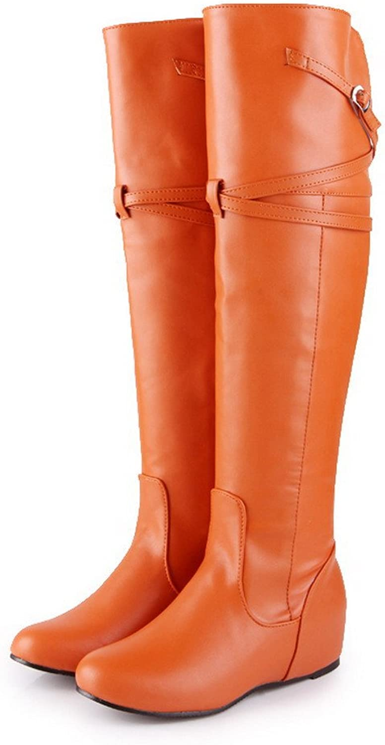 AmoonyFashion Women's Soft Leather Round Closed Toe Solid Boots with Adornment