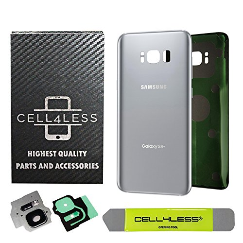 CELL4LESS Replacement Back Glass Cover Back Battery Door w/Custom Removal Tool & Pre-Installed Adhesive for Samsung Galaxy S8 Plus OEM - All Models G955-2 Logo - OEM Replacement (Arctic Silver)