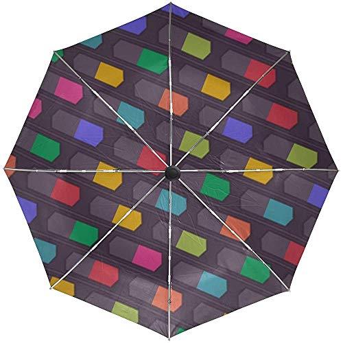 Automatische Regenschirm-Beschaffenheits-Form-Linien Hintergrund-Bunte Reise bequemer winddichter wasserdichter faltender offener Selbstschluss