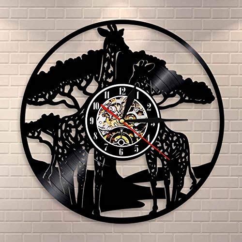 fdgdfgd Classic CD Record Jirafa Familia Reloj de Pared Decoración de Animales africanos Disco de Vinilo Reloj Vintage Safari Baby Room Reloj de Pared | Reloj de Pared Luminoso de 7 Colores