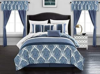 Chic Home Vivaldi 20 Piece Comforter Set Medallion Quilted Embroidered Design Complete Bag Bedding – Sheets Decorative Pillows Shams Window Treatments Curtains Included, King, Blue