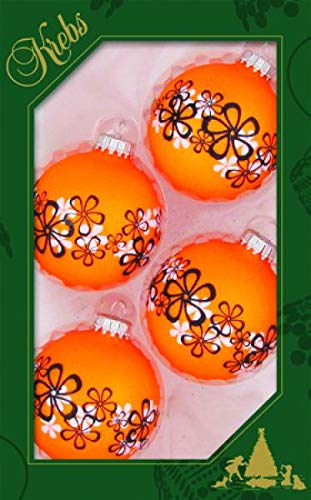 Balls Neon Orange with Flower Decoration, 7cm