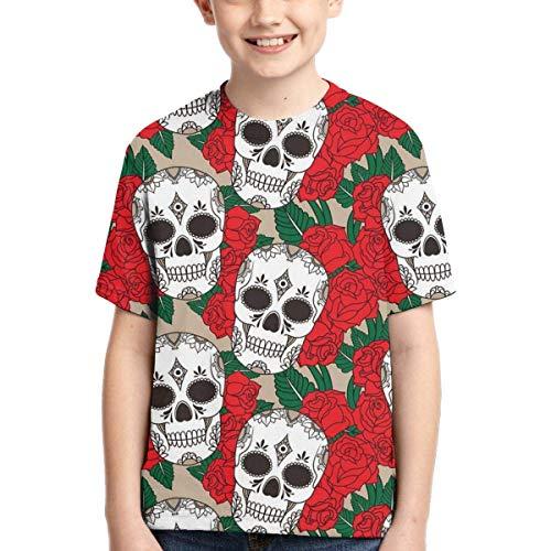 XCNGG Niños Tops Camisetas Youth Short Sleeve T-Shirts Skull Rose Kids Casual Graphics Tees