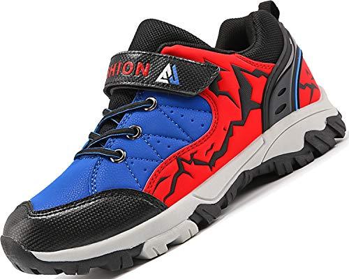 Lvptsh Kinder Wanderschuhe Jungen Trekkingschuhe Klettverschluss Wanderstiefel Mädchen Wanderhalbschuhe Walkingschuhe ,Rot Blau,34 EU
