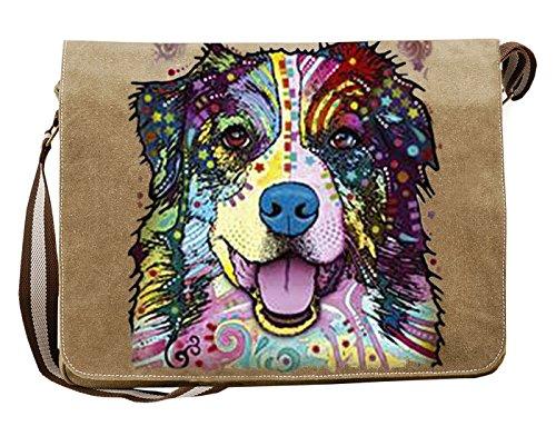 Hunde Motiv Umhängetasche für Hundehalter mit Hunde Tasche Canvas Australian Shepherd Hund Hundebesitzer Hundehalter Dog Hunde Artikel Dogs Hundefreund