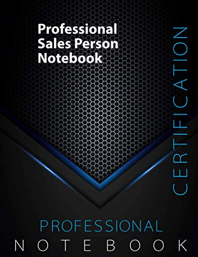 """Professional Sales Person Certification Exam Preparation Notebook, 140 pages, examination study writing notebook, Dotted ruled/blank double sided sheets, 8.5"""" x 11"""", Glossy cover pages, Black Hex"""