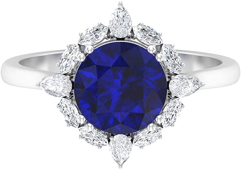 Max Our shop OFFers the best service 87% OFF 8 MM Lab Created Blue Sapphire Halo Cluster HI-SI Ring Diamond