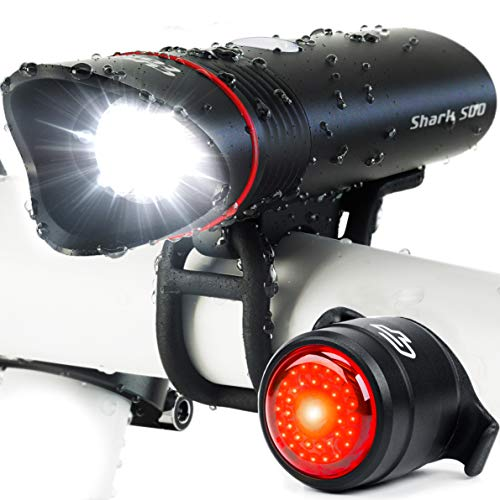 Bike Light USB Rechargeable, Cycle Torch Shark 500 Headlight & Tail Light Set, Fits All Bicycles, Hybrid, Road, MTB, with Quick Release