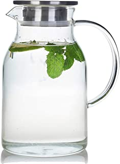 68 Ounces Glass Pitcher with Lid, Heat-resistant Water Jug for Hot/Cold Water, Ice Tea..