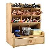 EasyPAG Bamboo Desk Organizer with Drawer Large Capacity Pen Holder Artist's Pencil Storage Rack