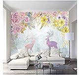 gwrdnjpjc carta da parati dipinta a mano fiore alce tv sfondo carta da parati carta da parati bagno camera da letto hotel mural-430x300