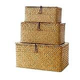 Cestini 3pcs Seagrass Bagagli Tessuto Di Vimini Bagagli Bins Organizzatore Contenitore Multiuso Con Coperchio Per Mensola Trucco (s M L)