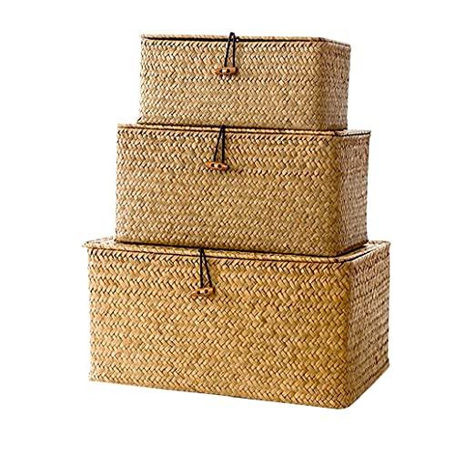 Uayasily Cestas 3pcs Seagrass De Almacenamiento De Mimbre Tejida Storage Bins Organizador Multipurpose Un Recipiente con Tapa para El Armario De Maquillaje (s M L)
