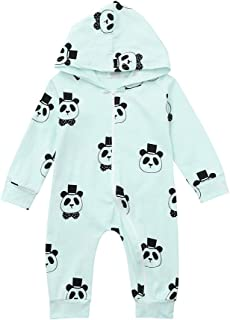 Newborn Baby Cartoon Romper Toddler Girls&Boys Long Sleeve Zip Up Jumpsuit with Hoodies Winter Playwear Outwear