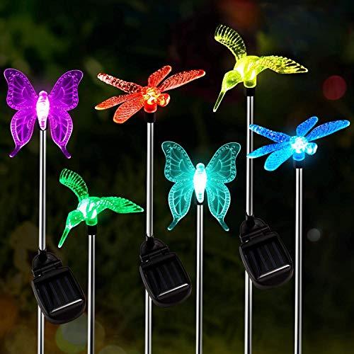 Luz Solar Exterior Jardin,OxyLED 6pcs Luces Solares para Exterior Jardin con cambio de color,IP65 Impermeables Decorativa Luces Solares,Lámpara Solares de Camino de Paisaje Para Patio,Césped,Pasillo