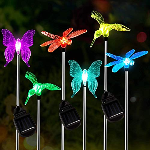 Solar Garden Lights Outdoor,6 Packs OxyLED Figurine Stake Light, Color Changing Decorative Landscape Lighting LED Solar Powered Hummingbird Butterfly Dragonfly for Patio Lawn Yard Pathway,Auto ON/Off
