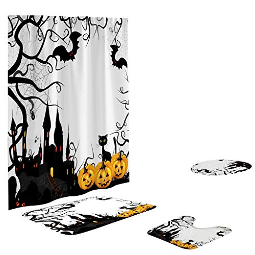 Shan-S Halloween Shower Curtain, Horror Shower Curtain Scary Halloween Decoration Shadow Shower Curtain Polyester Waterproof Pumpkin Shower Curtain Non-Slip Pedestal Rug Toilet Cover Set of 4