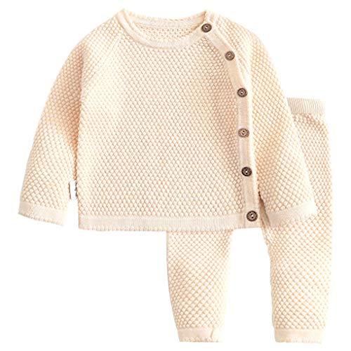 Juego del bebé del suéter de algodón Largo del suéter del bebé Infantil de la Manga Pijama Traje Ropa Traje, 66cm, Albaricoque