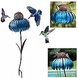 Comedero para pájaros, diseño de flores, para el exterior, con soporte,...